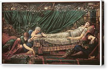 The Rose Bower Canvas Print by Edward Burne-Jones