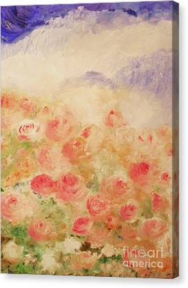 Canvas Print featuring the painting The Rose Bush by Laurie Lundquist
