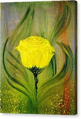 Canvas Print featuring the painting The Rose by Evelina Popilian