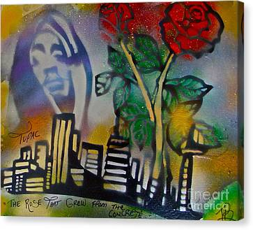 The Rose From The Concrete Gold Canvas Print by Tony B Conscious
