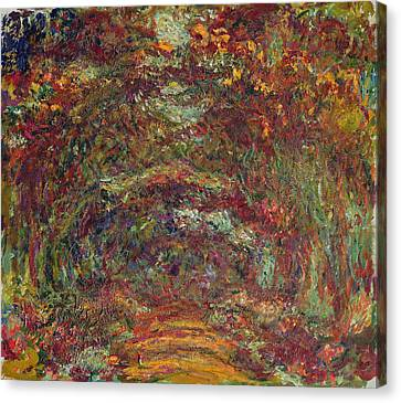 The Rose Path, Giverny, 1920-22 Oil On Canvas Canvas Print by Claude Monet