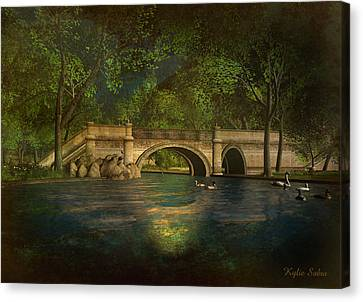 The Rose Pond Bridge 06301302 - By Kylie Sabra Canvas Print by Kylie Sabra