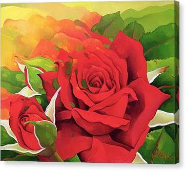 The Roses In The Festival Of Light Canvas Print by Myung-Bo Sim