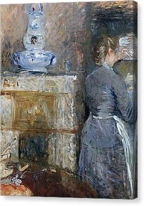 The Rouart S Dining Room Canvas Print by Berthe Morisot