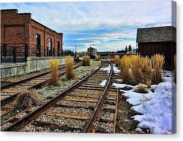 The Roundhouse Evanston Wyoming - 5 Canvas Print by Ely Arsha
