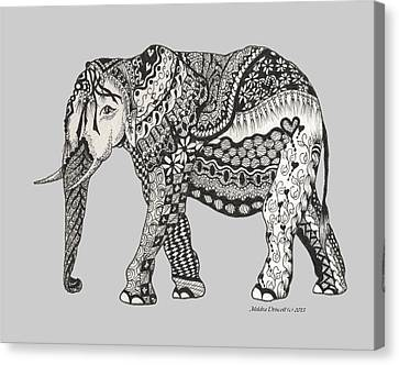 The Royal Elephant Zentangled Canvas Print