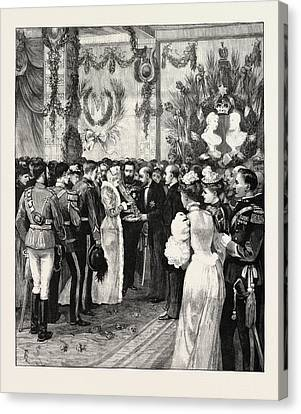 The Royal Home-coming At Bucharest The Mayor Offering Bread Canvas Print