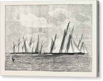 The Royal Thames Yacht Club Channel Match, Engraving 1876 Canvas Print by English School