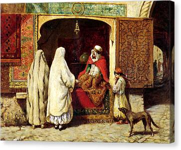 The Rug Merchant Canvas Print by Munir Alawi