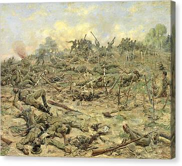 The Russian Infantry Attacking The German Entrenchments Canvas Print by Pyotr Pavlovich Karyagin