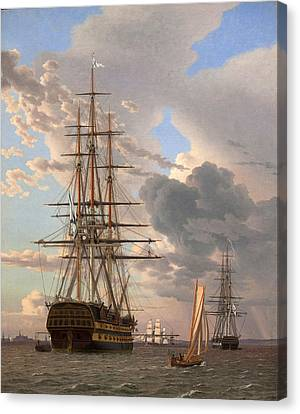 The Russian Ship Of The Line Assow And A Frigate At Anchor In The Roads Of Elsinore Canvas Print by Christoffer Wilhelm Eckersberg
