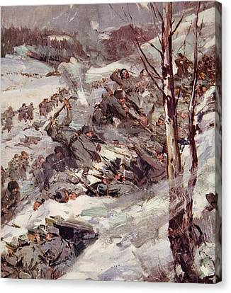 The Russians Fighting Their Way Over The Carpathians Canvas Print by Cyrus Cuneo