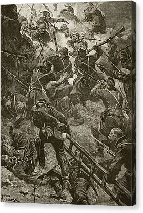 The Russians Went Up Boldly Canvas Print by Alfred Pearse