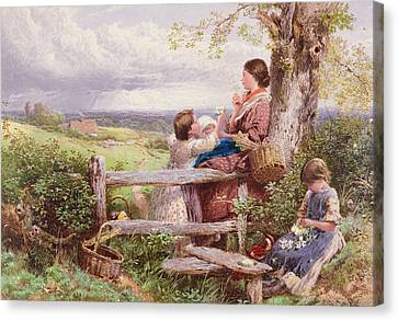 The Rustic Stile Canvas Print by Myles Birket Foster