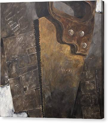 The Rusty Saw And The Buildingplans Canvas Print by Anke Classen