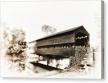 The Sachs Covered Bridge Near Gettysburg In Sepia Canvas Print by Bill Cannon