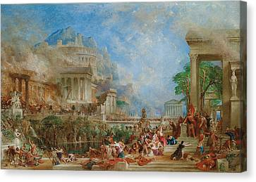 The Sack Of Corinth Canvas Print by Thomas Allom