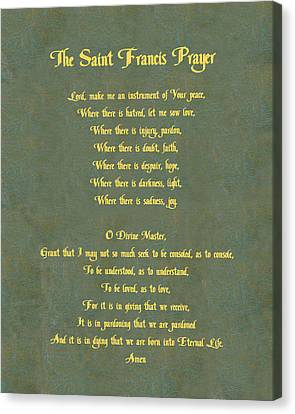 Pope Canvas Print - The Saint Francis Prayer In Gold Lettering On Green Leather. by Philip Ralley