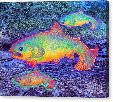 Canvas Print featuring the mixed media The Salmon King by Teresa Ascone