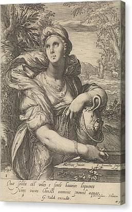 The Samaritan Woman, Jan Saenredam, Balthasarus Schonaeus Canvas Print by Jan Saenredam And Balthasarus Schonaeus And Gerard Valck