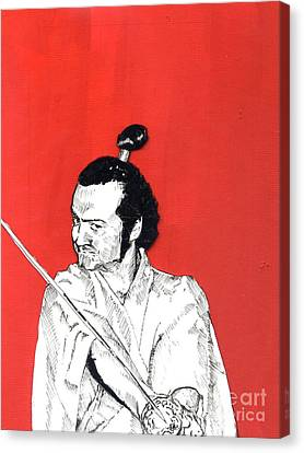 Canvas Print featuring the mixed media The Samurai On Red by Jason Tricktop Matthews