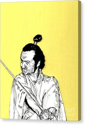 Canvas Print featuring the mixed media The Samurai On Yellow by Jason Tricktop Matthews