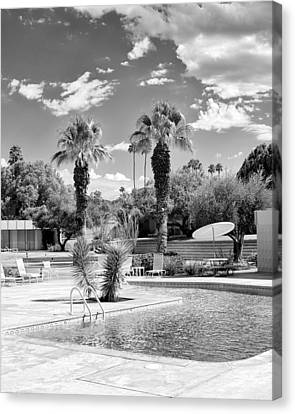 The Sandpiper Pool Bw Palm Desert Canvas Print by William Dey