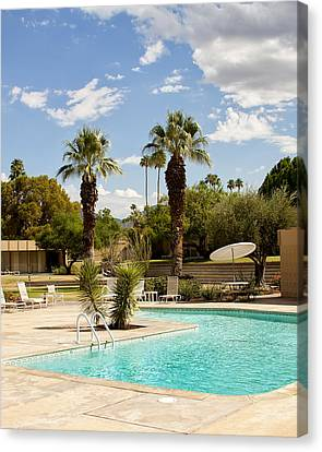 The Sandpiper Pool Palm Desert Canvas Print by William Dey