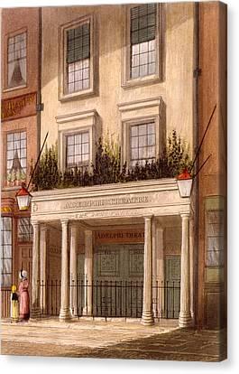 Building Canvas Print - The Sans Pareil Theatre, 1826 by Daniel Havell