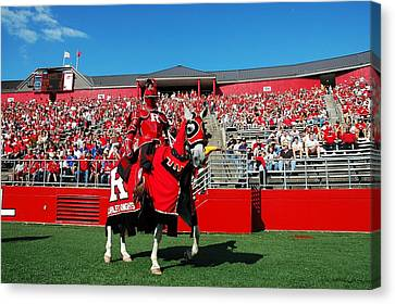 The Scarlet Knight And His Noble Steed Canvas Print by Allen Beatty