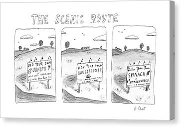 The Scenic Route Canvas Print by Roz Chast