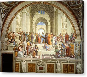 Greek School Of Art Canvas Print - The School Of Athens by Raphael
