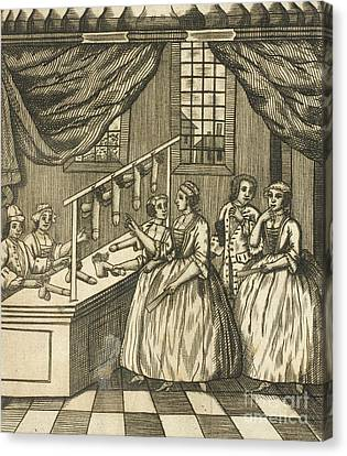The School Of Women, 17th Century Canvas Print by British Library