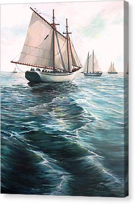 The Schooners Canvas Print by Eileen Patten Oliver