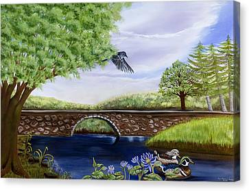 Canvas Print featuring the painting The Schuykill River by Susan Culver