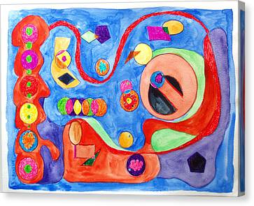 Canvas Print featuring the painting The Science Of Shapes 1 by Esther Newman-Cohen
