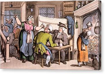 The Scold, With News Of Olivia Canvas Print by Thomas Rowlandson