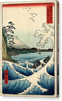 The Sea At Satta In Suruga Province Canvas Print by Georgia Fowler
