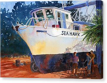 Canvas Print featuring the painting The Sea Hawk In Drydock by Roger Rockefeller