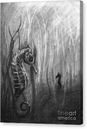 Canvas Print featuring the drawing The Sea Spell by J Ferwerda