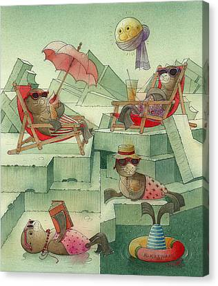 The Seal Beach Canvas Print by Kestutis Kasparavicius