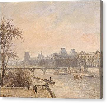 The Seine And The Louvre, 1903 Oil On Canvas Canvas Print by Camille Pissarro