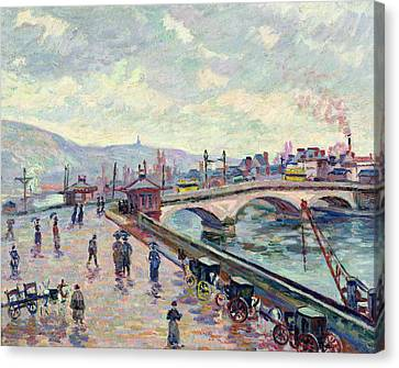 The Seine At Rouen Canvas Print by Jean Baptiste Armand Guillaumin
