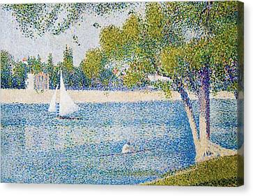 The Seine At The Grand Jatte Canvas Print by Georges Seurat