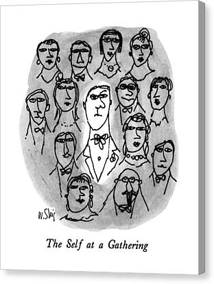 Gathering Canvas Print - The Self At A Gathering by William Steig