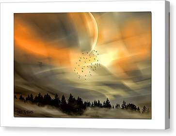 Canvas Print featuring the mixed media The Setting Sun Over The Rising Mist by Tyler Robbins