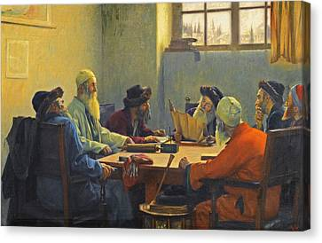 The Seven Rabbis In Jerusalem Canvas Print by Theodoros Rallis