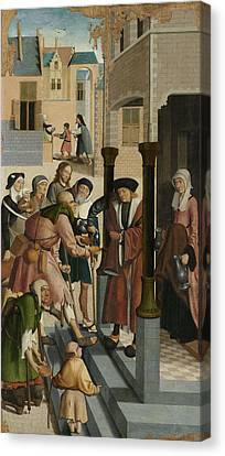 The Seven Works Of Mercy, Master Of Alkmaar Canvas Print by Litz Collection