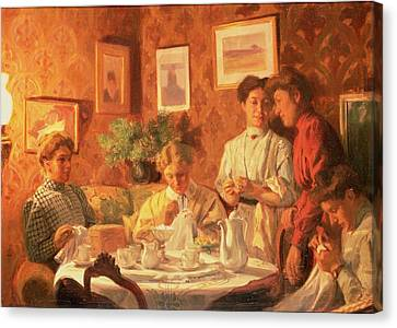 The Sewing Group, 1909 Oil On Canvas Canvas Print by Nils Larson