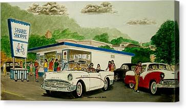 The Shake Shoppe Portsmouth Ohio 1960 Canvas Print by Frank Hunter